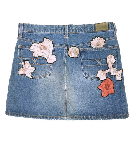 Chloe 90's vintage flower embroidery decoration denim | Etsy on