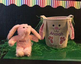 Personalized Burlap Easter bag & plush
