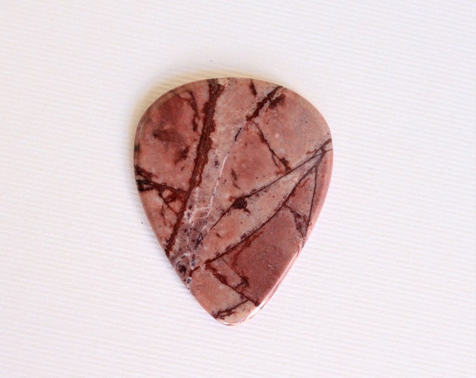 Apache Jasper Thin Stone Guitar Pick Item # 1275 - Gemstone Natural Stone Pick