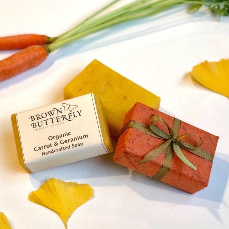 Handcrafted Organic Carrot Geranium Soap image 0