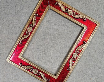 11X14 Frame Vintage Gold and Red Ornate with Optional Glass and Custom Cut Matting