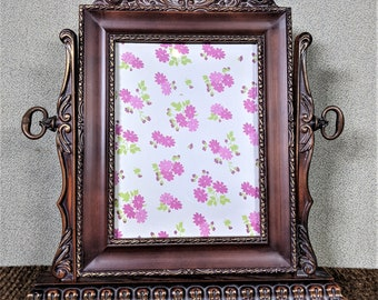 3 12 x 5 Frame Wood Grey with Flowers Oval Scalloped with Optional Invisible Glass