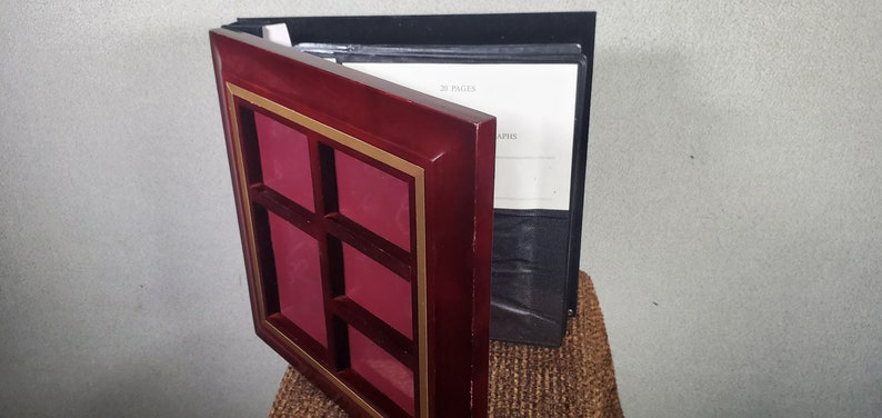 Photo Storage Book with Multi Opening Front Dark Rust Hardwood Tabletop 80 Photo Capacity