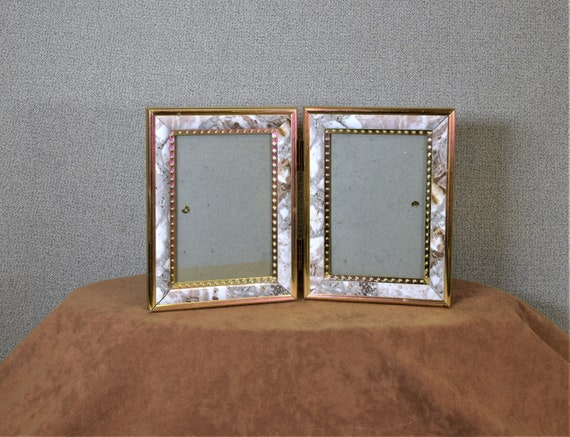 3 12 X 5 Photo Frame Double Opening Hinged Marbleized Grey Etsy