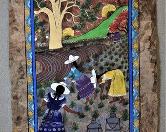 Original Painting Women in Field Harvesting -- Large Size
