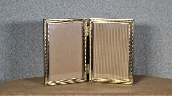 3 12 X 5 Photo Frame Double Opening Hinged Vintage Gold Metal Etsy