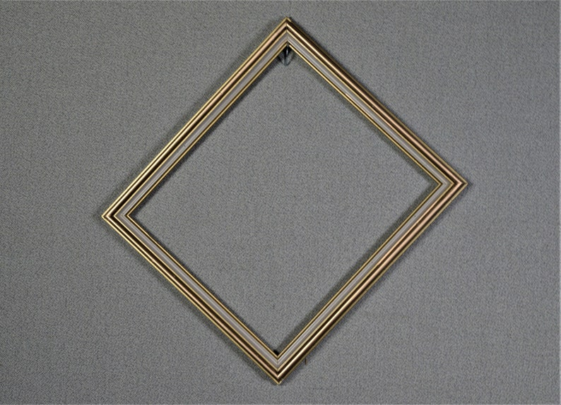 Vintage Gold and White Wood with Optional Complete Frame Kit Glass and Custom Cut Matting 8x9 Frame Approx. Size