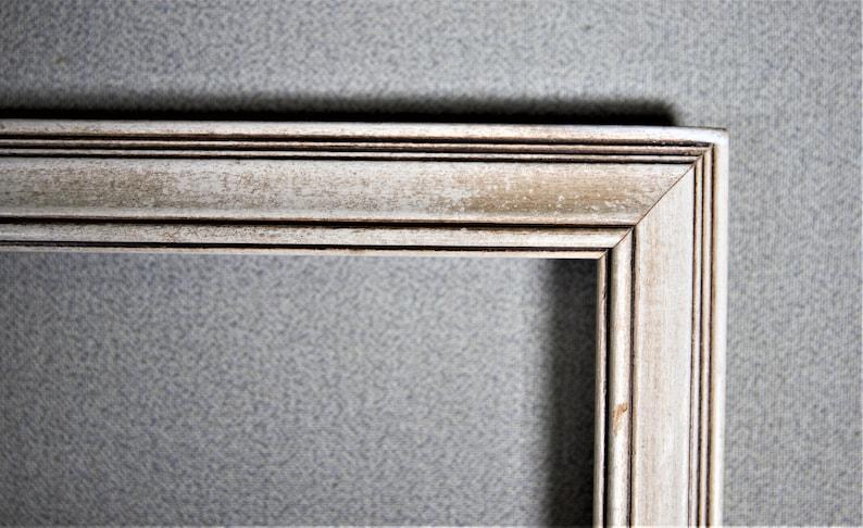 16x20 Frame Vintage White Wood with Optional Custom Cut Matting