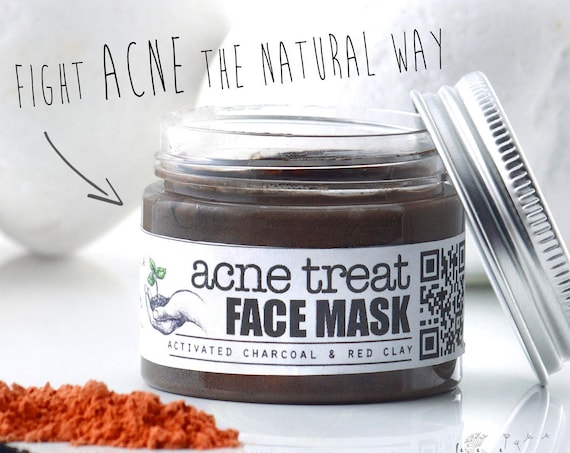ACNE TREAT Facial Mask • with Activated Charcoal & Red Clay. Organic, specialized anti acne treatment face mask.