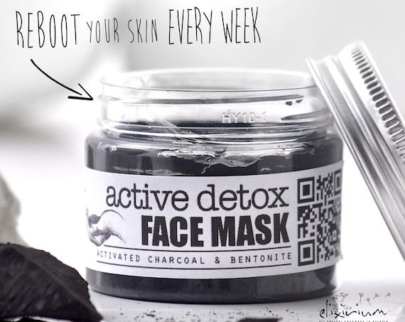 ACTIVE DETOX Facial Mask • Activated Charcoal & Bentonite clay organic face mask with Green Tea for detoxificative face treatment.