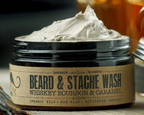 BEARD WASH - Whiskey Bourbon and Caramel~organic beard soap~beard shampoo~beard care~mens care~whipped soap~mustache wash~for him