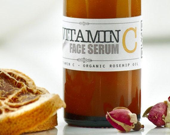 VITAMIN C Face Serum • with Organic Rosehip & Pure Vitamin C • Skin rejuvenating and collagen stimulating face treatment serum.