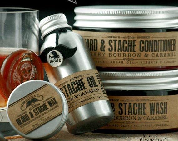 BEARD KIT • Organic Beard Care Full Set for nourishing a glorious beard. Perfectmen's gift • Oil, Wash, Conditioner and Wax.