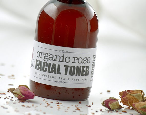 Organic Rose FACIAL TONER • with Rooibos Tea & Aloe Vera • Toning, Balancing and Moisturizing your skin.