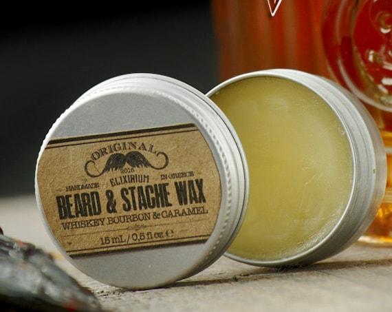 BEARD & STACHE WΑΧ- Whiskey Bourbon Caramel~facial hair styling wax~organic mustache wax~beard care~mens care~beard wax~gift for him~wax