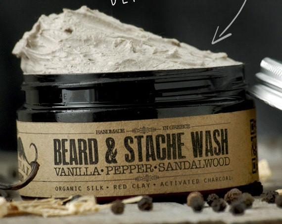 BEARD WASH - Vanilla Pepper Sandalwood~organic beard soap~beard shampoo~beard care~mens care~whipped soap~mustache wash~for him