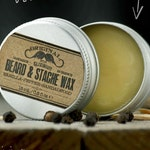 BEARD & STACHE WΑΧ- Vanilla Pepper Sandalwood~facial hair styling wax~organic mustache wax~beard care~mens care~beard wax~gift for him~wax