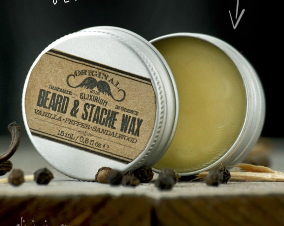 BEARD WΑΧ- Vanilla Pepper Sandalwood~facial hair styling wax~organic mustache wax~beard care~mens care~beard wax~gift for him~wax