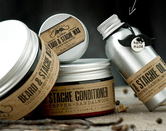 BEARD & STACHE SET • Organic Beard Care Full Set for nourishing a glorious beard. Perfect boyfriend gift • Oil, Wash, Conditioner and Wax.