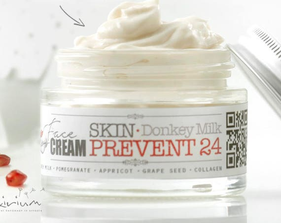 SKIN PREVENT 24 Donkey Milk Face Cream with Pomegranate • Organic Face Elixirium for 24h aging prevention, skin elasticity and tightening.