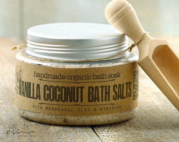 Vanilla Coconut BATH SOAK • with Rhassoul clay and Hibiscus for a spa relaxation bath soak ritual.