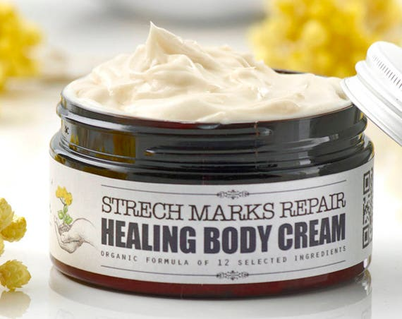 HEALING BODY CREAM Stretch Marks Repair • Organic skin healing cream, stretch marks healing, skin repair, scars rebuild, organic skincare