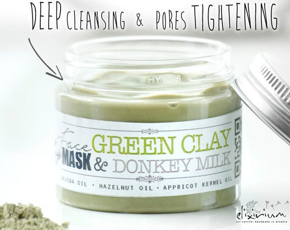 GREEN CLAY MASK Organic with Donkey Milk and Montmorillonite • Deep cleansing & skin pores tightening for combination and oily skin types.