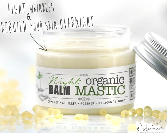 ORGANIC MASTIC Night Facial Balm • Skin Rebuild Face Cream. Wrinkle night balm for Anti Aging organic skincare.