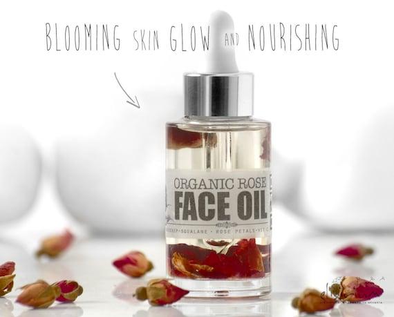 ROSE FACE OIL • Organic Facial oil, Moisturizer, Glowing, Nourishing, Elixirium Organic Skincare