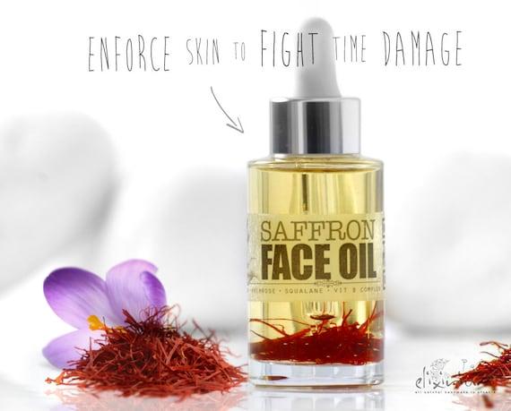 SAFFRON FACE OIL • Organic Facial oil, Moisturizer, Radiant, Repairing, Elixirium Organic Skincare