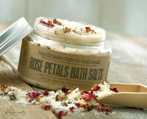 Rose Petals BATH SALTS • with Rosehip and Himalayan pink salt for a spa relaxation bath soak ritual.