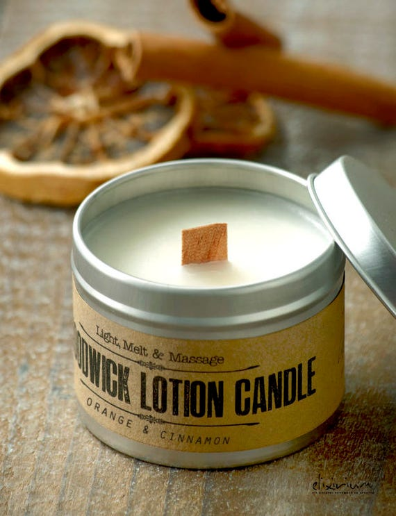 WOODWICK LOTION CANDLE Orange & Cinnamon • Aromatherapy candle and body lotion in a jar.Body massaging, room scenting and romantic lighting.