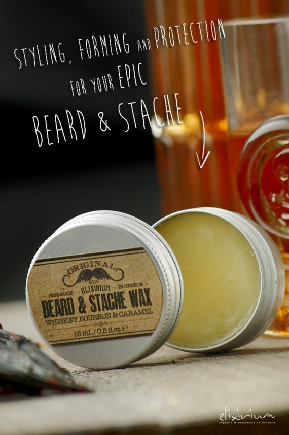 BEARD & STACHE WΑΧ- Whiskey Bourbon Caramel~facial hair styling wax~organic mustache wax~beard care~mens care~beard wax~gift for him~wax
