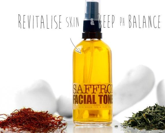 SAFFRON FACIAL TONER with GreenTea • Moisturizing Face Toner, Aloe Vera, Facial care by Elixirium Organic Skincare