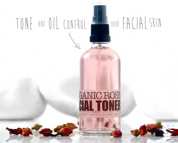 ROSE FACIAL TONER Organic with Hibiscus • Moisturizing Face Toner, Rose toner, Hibiscus, facial care by Elixirium Organic Skincare