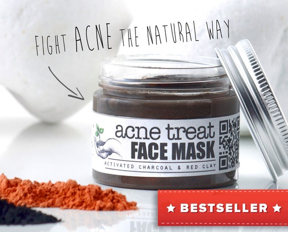 ACNE TREATMENT Facial Mask • with Activated Charcoal & Red Clay. Organic, specialized anti acne treatment face mask.