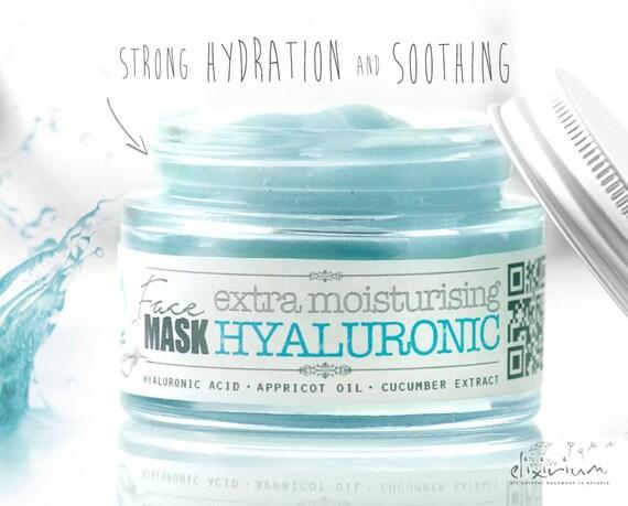 HYALURONIC FACE MASK extra moisturising • Strong Hydration Facial Mask, Organic Facial Care, Aloe, Appricot, cucumber, elixirium