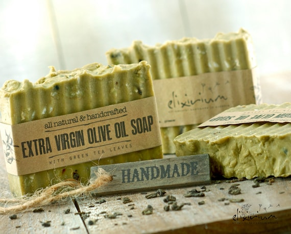 Extra VIRGIN OLIVE OIL Soap • With Green Tea extract, a rustic, vegan, handmade soap for organic skin care.