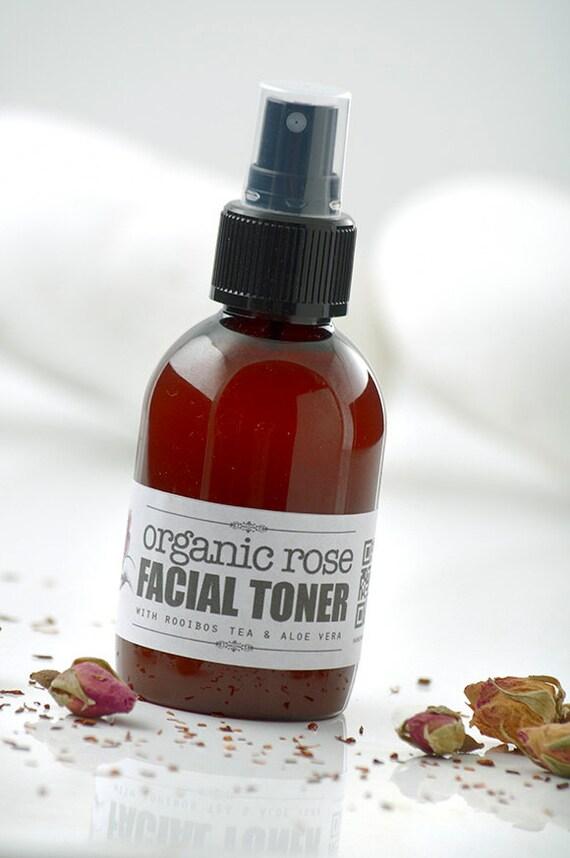 Organic Rose FACIAL TONER • with Rooibos Tea & Aloe Vera • Toning, Balancing and Moisturizing your skin.