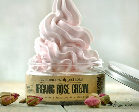 ORGANIC ROSE CREAM Whipped Soap • Rose infused, extremely versatile vegan whipped cream soap.
