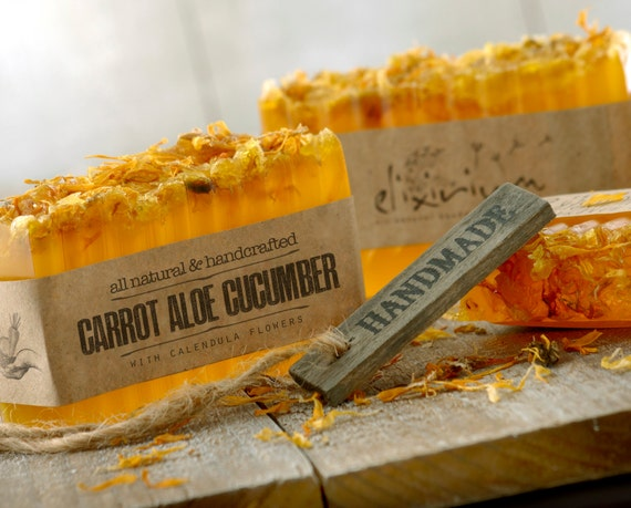 CARROT ALOE CUCUMBER Soap  •  With Calendula flowers a rustic, vegan, handmade soap for organic skin care.