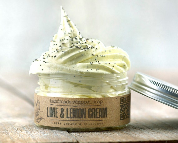 LIME & LEMON Cream Whipped Soap • Lime and lemon infused, extremely versatile vegan whipped cream soap.