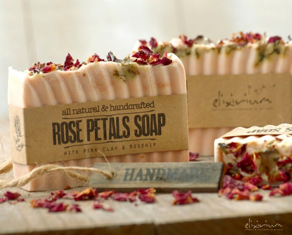 ROSE PETALS Soap • With Pink Clay & Rosehip, a rustic, vegan, handmade soap for organic skin care.