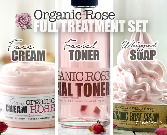 ORGANIC ROSE Full Set • Organic Total Skin Treatment for age fighting. Organic Facial Care, Organic skincare by  Elixirium