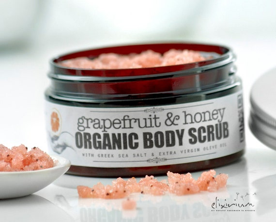 GRAPEFRUIT & HONEY Body Scrub • Salt Sugar Body Scrub, Greek Sea Salt body scrub, exfoliator, Sugar scrub, Peeling, Organic Skincare