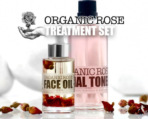 ORGANIC ROSE Treatment Set • Organic Total Skin Treatment for facial skin glow. Organic Facial Care, Organic skincare by  Elixirium