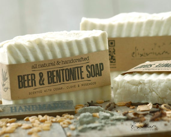 BEER SOAP BENTONITE • Mens Hair Soap, organic Soap for him, natural soap, organic skin care, Father's gift, Husband gift, Boyfriend gift