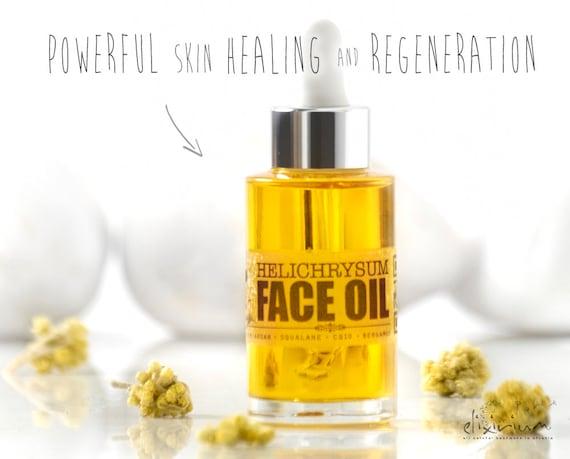 HELICHRYSUM FACE OIL • Organic Facial oil, Moisturizer, Healing, Regenerating, Elixirium Organic Skincare