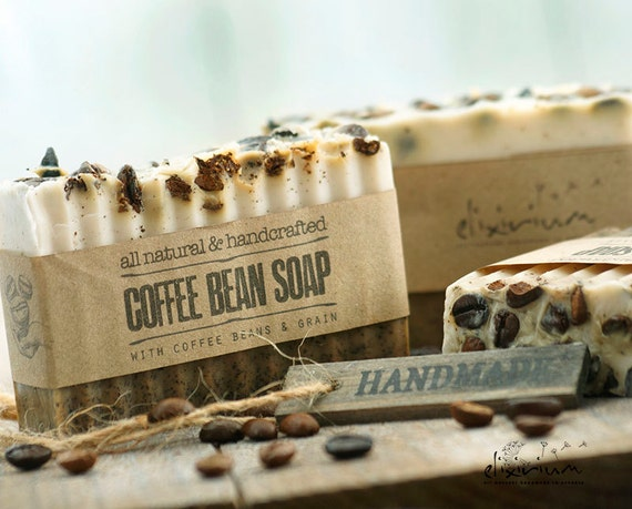COFFEE BEAN Soap • Coffee beans infused, a rustic, vegan, handmade soap for organic skin care.