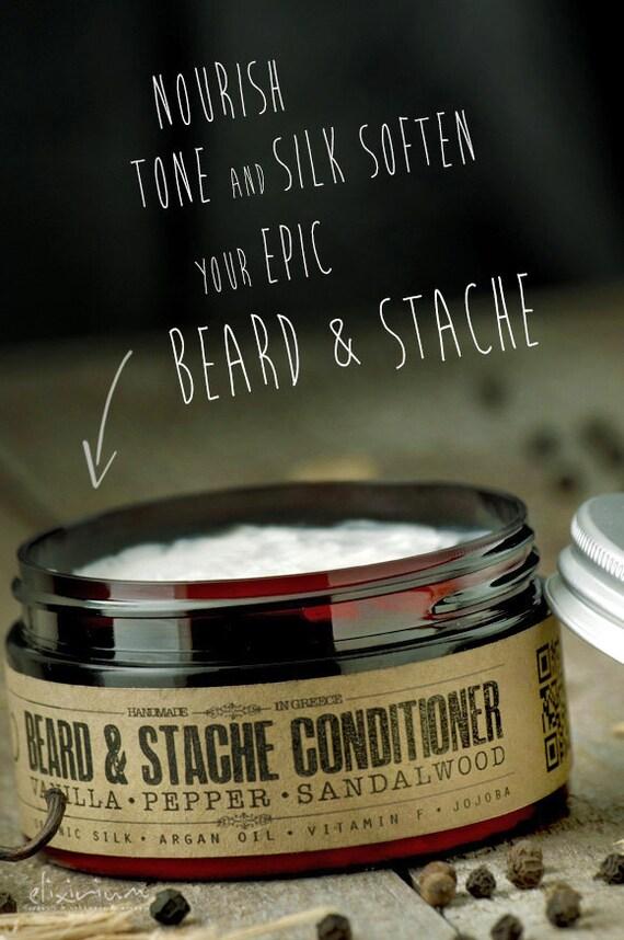 BEARD & STACHE CONDITIONER - Vanilla Pepper Sandalwood~organic beard conditioner~beard care~mens care~facial hair beard softener~for him